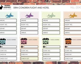 Travel Stickers, Planner Stickers, airplane stickers, trip planning, hotel stickers, trip stickers, bullet journal, Erin Condren 0043