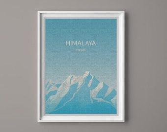 HIMALAYA, NEPAL, Illustration, PRINTABLE Art, Digital Download Printable, Image For Wall Decoration, Prints