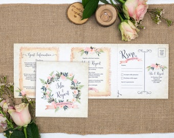 Rustic Wedding Invitation - Double-Folded Rustic Wreath