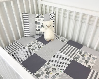 Baby Blanket, Nursery Decor, Patchwork Quilt, Minky Baby Blanket, Nursery, Elephant, Gray, Grey, White, Elephants, Baby Boy, Baby Girl