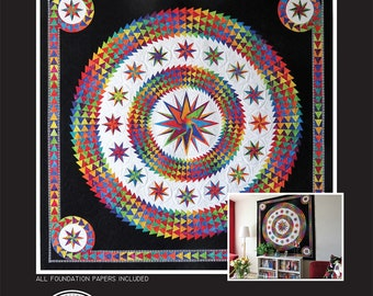 """Be Colourful Quilt Pattern - Imagine - Foundation Paper Piecing - 74"""" x 74"""" - BC1707"""