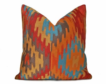 Southwestern Pillows, Orange Blue Pillow, Aztec Pillows, Cushion Covers, Orange Throw Pillows, Turquoise, Teal, Zipper,  12x18, 18x18, 20x20