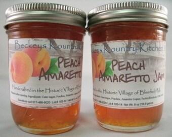 Two Peach Amaretto Jam Homemade by Beckeys Kountry Kitchen jelly fruit spread preserves