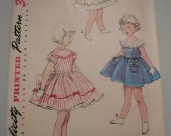 Vintage Simplicity Pattern 4954 Girls Dress Size 3