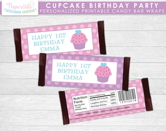Cupcake Theme Birthday Party Chocolate Bar Wrappers | Purple & Pink | Personalized | Printable DIY Digital File