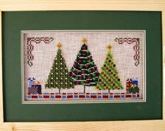 Christmas Cross Stitch Instant Download PDF Pattern Holiday Trees! Counted Embroidery Design X Stitch Beaded Yule Tree DIY Home Decor