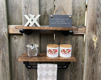 DARK WALNUT Industrial Rustic Towel Rack, Holder with Wood Shelf, Kitchen Towel Bar, Rustic Wall Decor, Bathroom, Kitchen, Pipe Shelf, Gift
