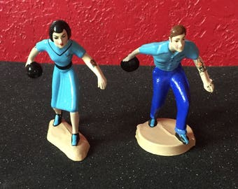 Tattooed Vintage Bowling Cake Topper Couple, Figurines ~ Ready to ship!