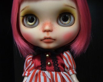 Red Striped Join The Circus Dress - Blythe Doll