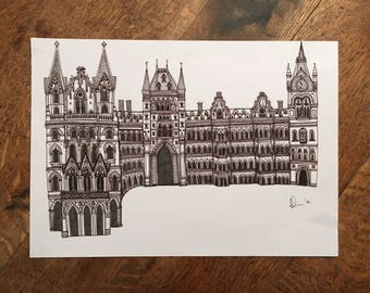 Original Illustration of Kings Cross St Pancras | London | Pen | Line Drawing | Detail | Buildings | Architecture | Artist | Art | Snowtap