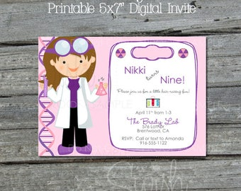 Science Party Invite | Scientist Birthday Invitation | Science Lab | Girl Science | Pink Purple | Printables | Digital Download | 5x7