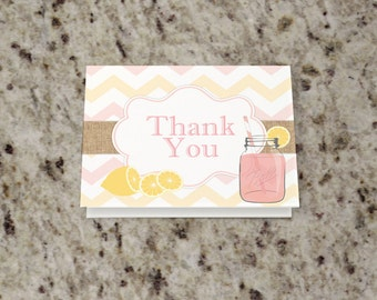 Lemonade Birthday Thank You Note - Pink Lemonade - DIY Thank You Note - INSTANT DOWNLOAD - Print Your Own - KID69_T