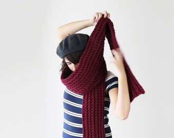 Long Winter Scarf -  Chunky Crochet Scarf - Winter Accessory- Warm Unisex  Huge Scarf in Pinot | The Io Scarf |