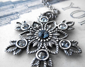 Snowflake Necklace - Antiqued Silver Snow Flake Pendant, Sterling Silver Chain, Ice Blue Rhinestones, Christmas Jewelry, Christmas Necklace