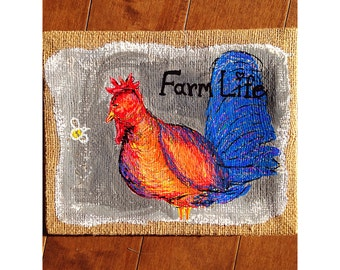 Rooster painting burlap canvas rooster painting farm life best life. Rooster art rooster decor chicken decor chicken art chicken farm life