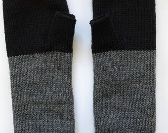 Fingerless Mittens Hand Warmers Wool Fine Gauge in Colorblock Black and Charcoal