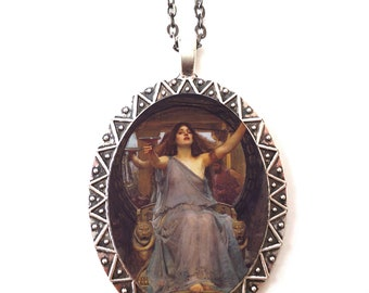 John William Waterhouse Necklace Pendant Silver Tone - Circe Offering Cup to Ulysses Fine Art Painting