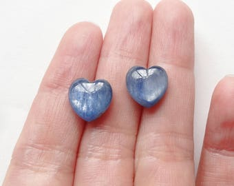 A Grade Sapphire Blue Kyanite Half Top drilled Heart Drops 10 mm One Pair F2478