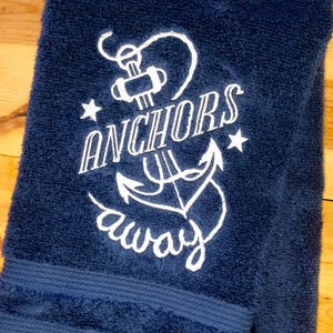 Towel   Embroidered Nautical Towels  Beach Bathroom Decor  Towels ~ Hand