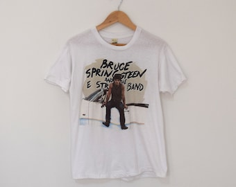"1984 Bruce Springsteen T- Shirt/ ""Born in the USA"" Concert Tee/ 1980s Rock Baseball T-Shirt/ Mens Size Medium/ Womens Large XL"