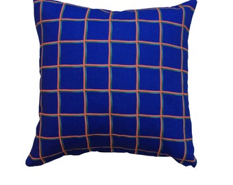 Grid Cushion Cover, 40x40 Pillow Cover, 16x16 Cushions, Cobalt Blue, Orange, Forest Green, Modern Home Decor, Blue Cushion