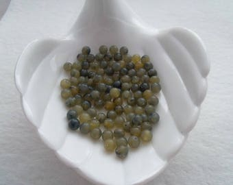Vintage German Acrylic Beads, 6mm Olive Green (1310)