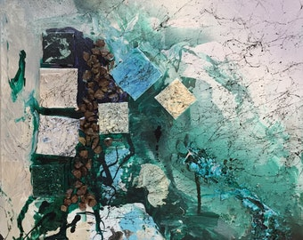 Collage Turquoise Original Painting
