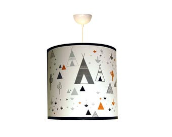 """Child Lampshade """"in my teepee"""" black grey and caramel"""