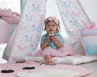 Kids Tepee with unicorns (tipi with poles), Pink teepee for girls room, girls wigwam, indoor outdoor play tent, Unicorn room design
