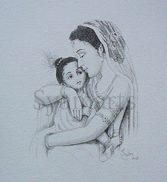 Madonna mother yasoda child krishna syamarts original drawing