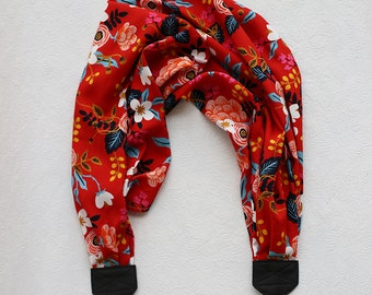scarf camera strap red birch bark floral - BCSCS083
