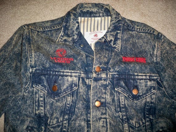 Video Movie Jean Vintage Denim Young Blue Medium Jacket Guns in Made Vestron Men's Size USA Studio Coat 8IEIS