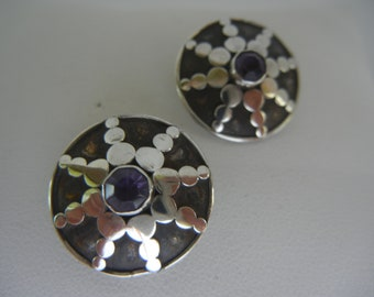 Vintage sterling silver and amethyst clip-on Bali earrings 7.4 grams.  Amethyst & silver star design clip-on earrings.  Clip-on earrings.