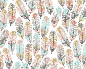 BOHO Crib Sheet - Feather Baby Bedding /Fitted Crib Sheets /Pink Mint Feathers /Changing Pad Covers /Mini Crib Sheets /Feather Crib Bedding