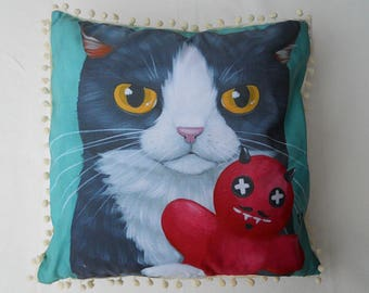 Felix and the little devil Cushion cover