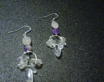 Sterling Silver Amethyst Quartz dangle earrings