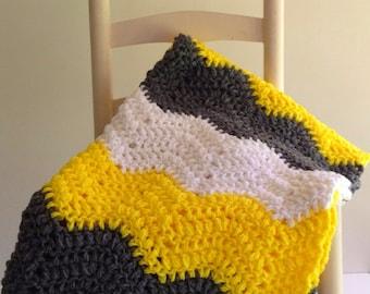 crochet baby blanket, crochet baby afghan, chevron baby blanket, yellow and gray blanket, bumblebee blanket,warm baby blanket,chunky blanket