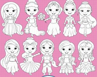 Little Princesses Digital Stamps, Princess stamps, Fairytale Princess, Princess Digi stamps, Line art, Princess clipart, Black line art