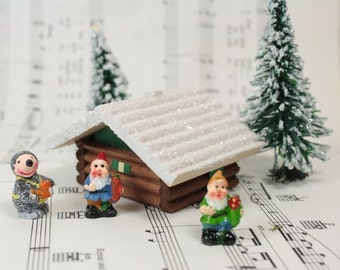 German Christmas Snowy Wooden Chalet  miniature gnome home miniature home diorama miniature village- 106-036A