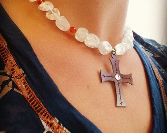 Ice Flake Quartz and Orange Crystal Necklace with a Cross Pendant