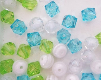 Green, White and Blue Bead Collection, 10mm beads and larger, K26