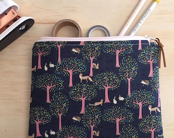 fox on the run zippered pouch / clutch / pencil case