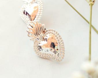 Boho sacred heart earrings-sacred heart earrings-mexican earrings-brass earrings-heart earrings-bridesmaid gift-gift under 20-xmas gift