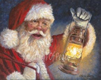 Santa - Claus - Christmas - Lantern - Print -16 x 20