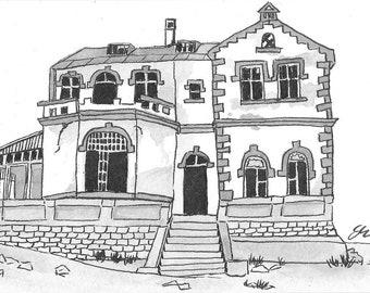 Deserted House  - Namibia - 6 x 4  original ink paining