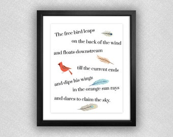 """Bird and Feather """"I Know Why the Caged Bird Sings"""" Printable. 8x10."""
