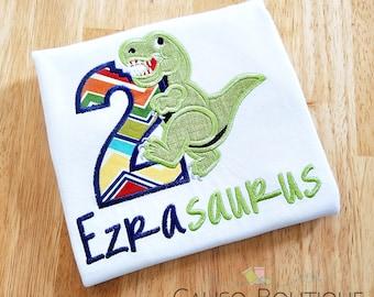 Dinosaur Birthday Shirt - T-Rex Birthday - Dino Shirt - Birthday Shirt with Name - Boys Birthday Shirt - Dinosaur Party - Boys Embroidery