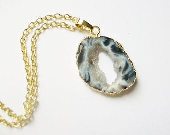 Druzy Pendant Necklace - Black and White Swirl Agate Druzy Necklace