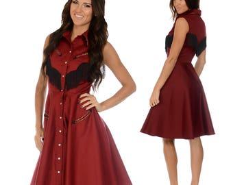Georgia Western Swing Dress in Burgundy and Black