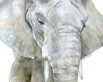 Elephant Watercolor Painting - 5 x 7 inches - Giclee Reproduction Fine Art Print - African Animals